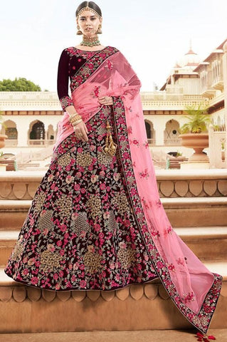 Super Heavy Bridal Wedding Lehenga Online SF0433YD - Siya Fashions