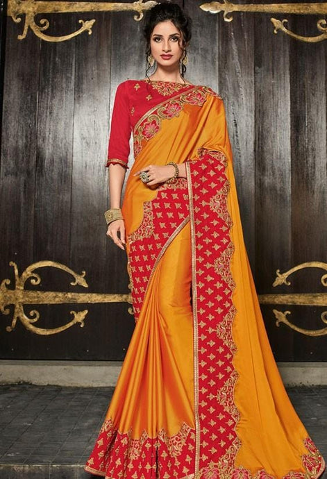 Wedding Saree Yellow Raw Silk Blouse SIYAFA33 - Siya Fashions