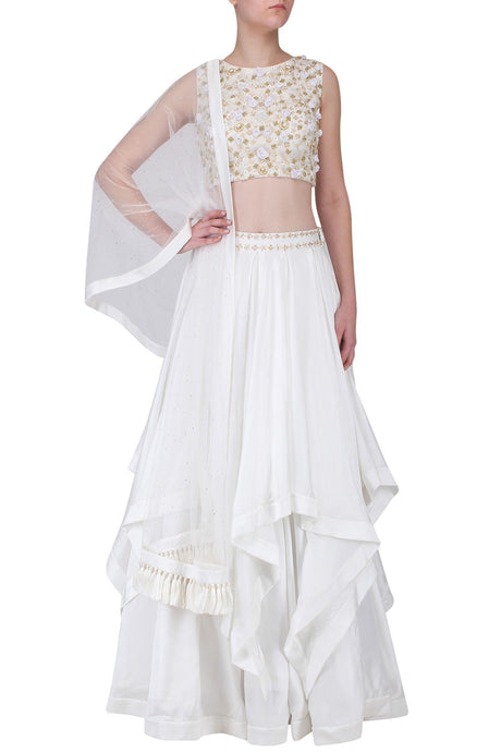 Bespoke White Layered Lehenga In Silk SFA130 - Siya Fashions