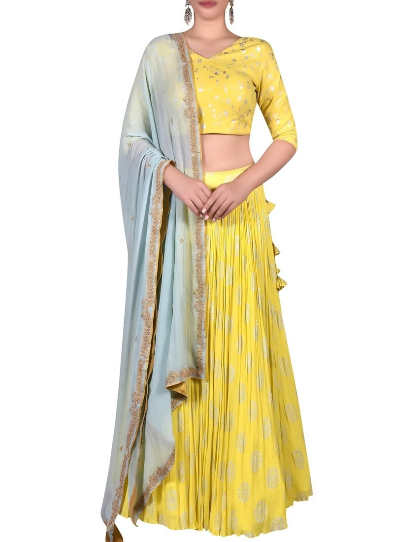 Yellow Wedding Party Chiffon Lehenga Choli SFIN43 - Siya Fashions