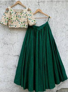 Raw Silk Green Lehenga Crop Top Blouse SF422 - Siya Fashions