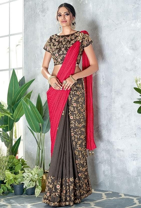 Slate Grey And Pink Silk Georgette Saree SF6442Y - Siya Fashions