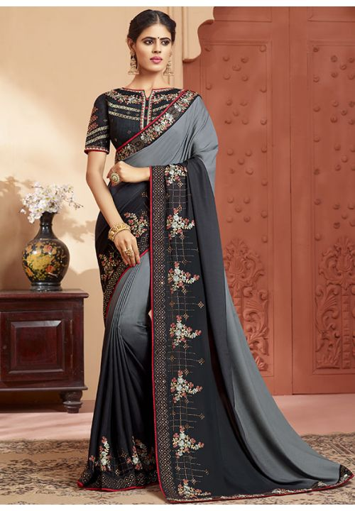 Smoke Black Online Asian Wedding Saree With Blouse SIYA346YDS - Siya Fashions
