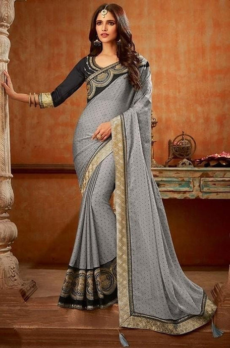 Solid Fancy Chiffon Saree In Grey SIYA8834D - Siya Fashions