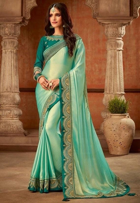 Solid Fancy Coating Saree In Green SIYA8833D - Siya Fashions
