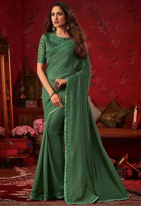Solid Fancy Silk Saree In Green SIYA8836D - Siya Fashions