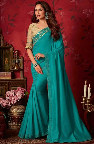 Solid Fancy Silk Saree In Turquoise SIYA8835D - Siya Fashions