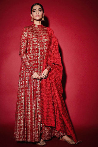 Sonam Kapoor Red Wedding Chanderi Silk Anarkali Set SFINSP42MB - Siya Fashions