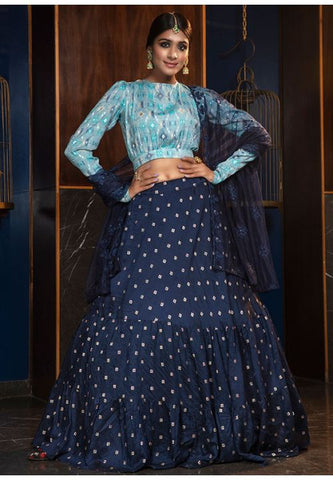 Splendid Cotton Fabric Navy Blue Color Lehenga Choli SYD5416 - Siya Fashions