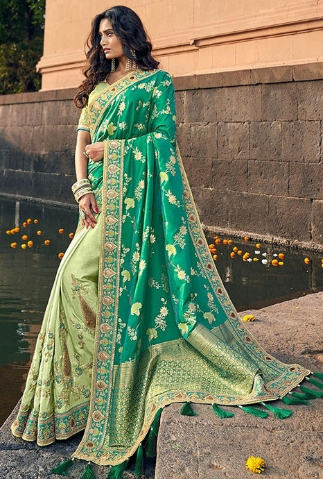 Spring Wedding Saree Green In Silk SFYDS009EX - Siya Fashions