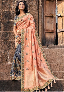 Spring Wedding Saree Grey Pink SIYA228802