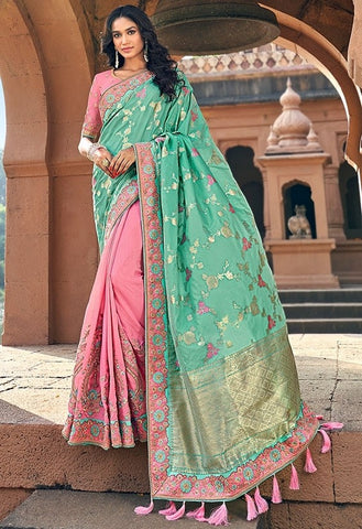 Spring Wedding Saree Mint Pink SIYA228803 - Siya Fashions