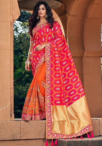Spring Wedding Saree Orange SIYA228804 - Siya Fashions