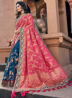 Spring Wedding Saree Pink Blue SIYA228805