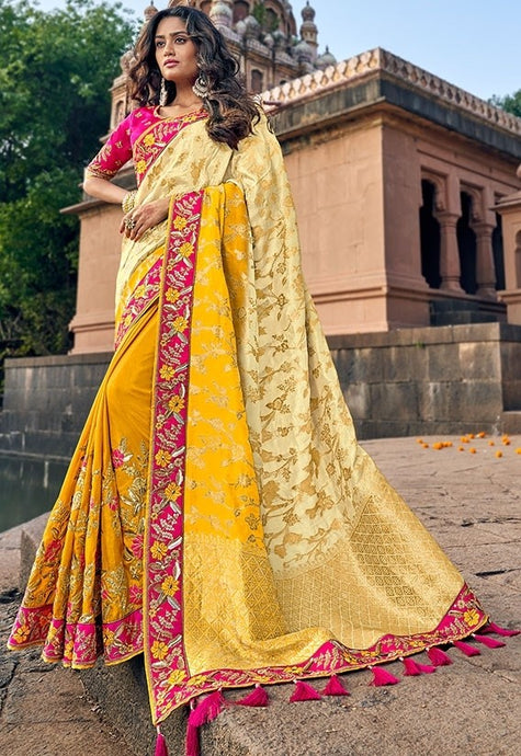 Spring Wedding Saree Pink Yellow SIYA228801 - Siya Fashions