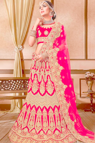 Stimulation Hot Red Bridal Lehenga Choli In Velvet Fabric YDMAY643 - Siya Fashions