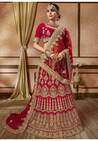 Stimulation Red Bridal Lehenga Choli In Velvet Fabric YDMAY24 - Siya Fashions