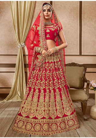 Stimulation Red Bridal Lehenga Choli In Velvet Fabric YDMAY632 - Siya Fashions