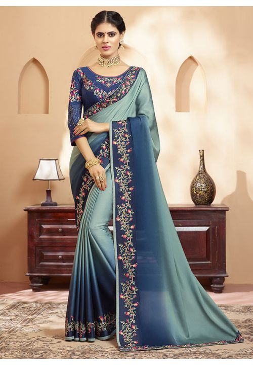 Stone Navy  Online Asian Wedding Saree With Blouse SIYA345YDS - Siya Fashions