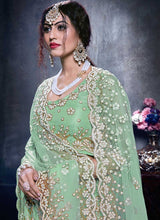 Load image into Gallery viewer, Stunner Ice Green Indian Party Reception Lehenga Choli Set In NetSFPARTY898