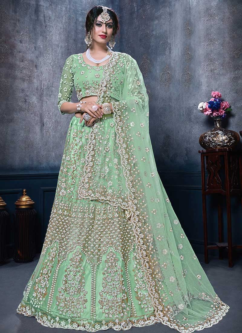 Stunner Ice Green Indian Party Reception Lehenga Choli Set In NetSFPARTY898