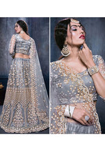 Load image into Gallery viewer, Stunner Ice Grey Indian Party Reception Lehenga Choli Set In NetSFPARTY896 - Siya Fashions