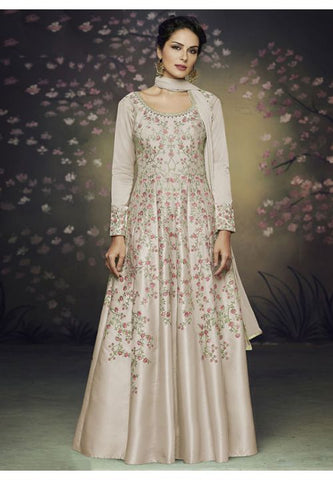 Subtle Beige Floral Long Anarkali With Jacket In Satin Silk READY545
