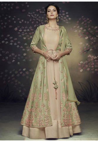 Subtle Beige Long Anarkali With Jacket In Net READY543