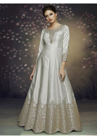 Subtle Grey Long Anarkali Suit In Satin Silk READY546 - Siya Fashions
