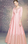 Subtle Pink Long Anarkali With Jacket In Satin Silk READY544 - Siya Fashions