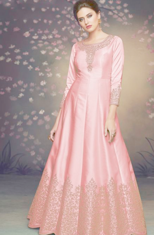 Subtle Pink Long Anarkali With Jacket In Satin Silk READY544
