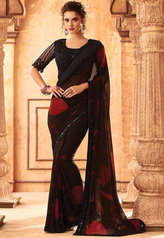 Tanya Black Multi Party Saree Georgette SIYA556675 - Siya Fashions