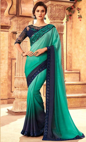 Tanya Blue Turquoise Party Saree Silk SIYA556685 - Siya Fashions