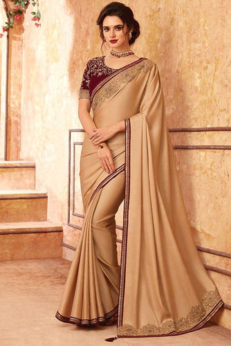 Tanya Bronze Beige Party Saree In Silk SIYA556673