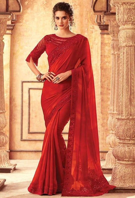 Tanya Chilli Red Party Saree In Silk SIYA556671 - Siya Fashions