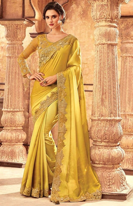 Tanya Corn Yellow Party Saree In Silk SIYA556672 - Siya Fashions