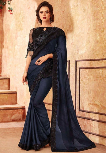 Tanya Dark Blue Party Saree Silk SIYA556683 - Siya Fashions
