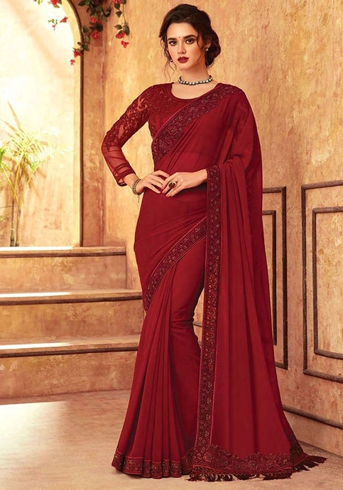 Tanya Dark Red Party Saree Silk SIYA556684 - Siya Fashions