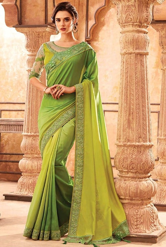 Tanya Lime Green Party Saree Georgette SIYA556676 - Siya Fashions