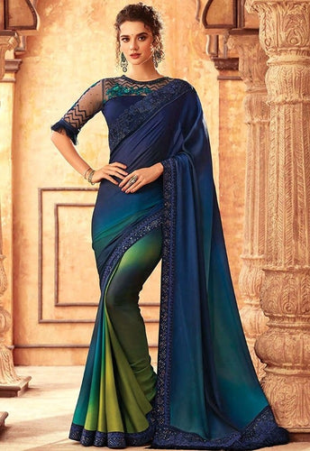 Tanya Navy Multi Party Saree Georgette SIYA556677 - Siya Fashions
