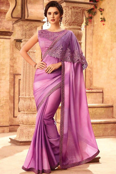 Tanya Purple Party Saree In Silk SIYA556674 - Siya Fashions