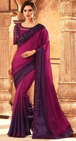 Tanya Purple Party Saree Silk SIYA556686 - Siya Fashions