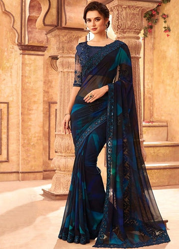 Tanya Reception Navy Party Saree Georgette SIYA556679
