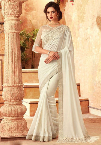 Tanya Reception White Party Saree Silk SIYA556681 - Siya Fashions