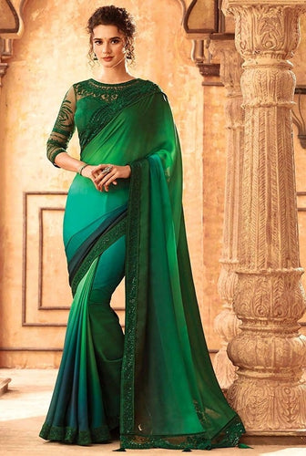 Tanya Sangeet Green Party Saree Silk SIYA556682 - Siya Fashions