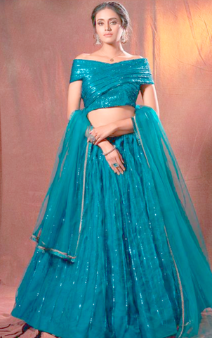 Teal Blue Wedding Sangeet Lehenga Choli In Sequin SFASHIONS68