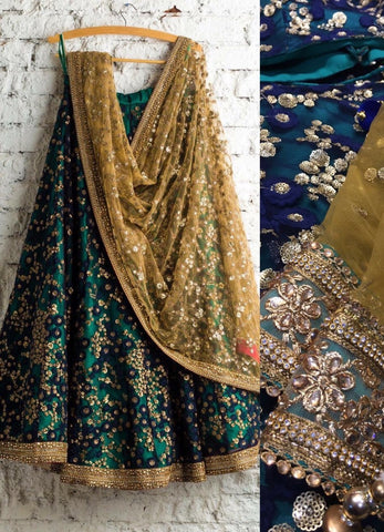 Teal Bridal Reception Lehenga Set In Net Heavy Handwork INS133 - Siya Fashions