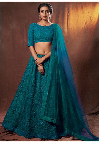 Teal Work Sangeet Lehenga Choli In Soft Net SFASHIONS90 - Siya Fashions