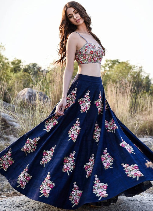 Tropical Blue Raw Silk Lehenga With Diamon Work SFIN302 - Siya Fashions