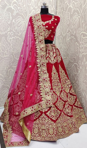 Turkish Pink Bridal Velvet Lehenga Choli SFYDS0140 - Siya Fashions